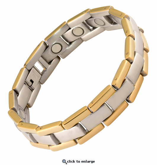 Magnetic Therapy Bracelet Stainless Steel 2 Tone Executive