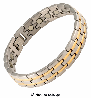 Magnetic Therapy Bracelet Stainless Steel 2 Tone Stripes