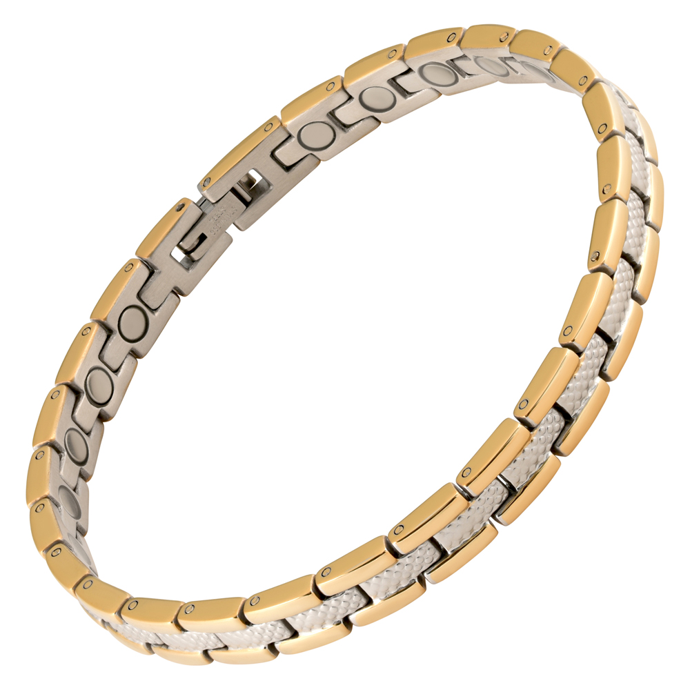 Magnetic Therapy Anklet Stainless Steel 2 Tone Verona