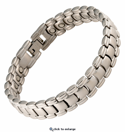 Magnetic Therapy Bracelet Stainless Steel Silver Classic