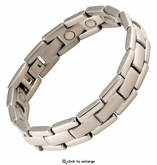 Magnetic Therapy Bracelet Stainless Steel Silver Executive