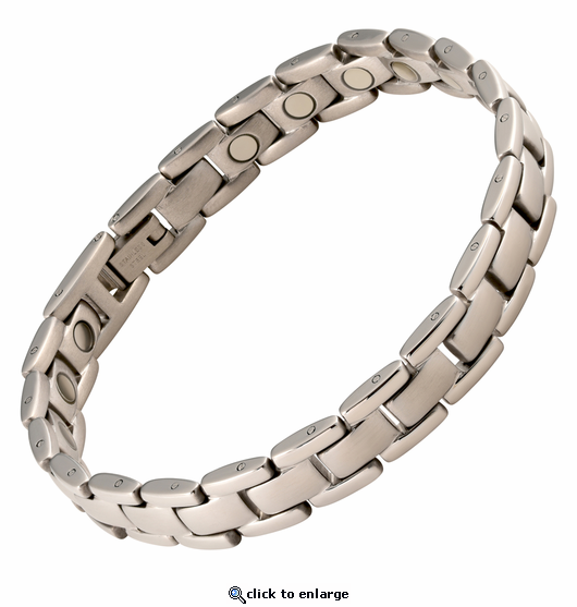 Magnetic Therapy Bracelet Stainless Steel Silver Marigot