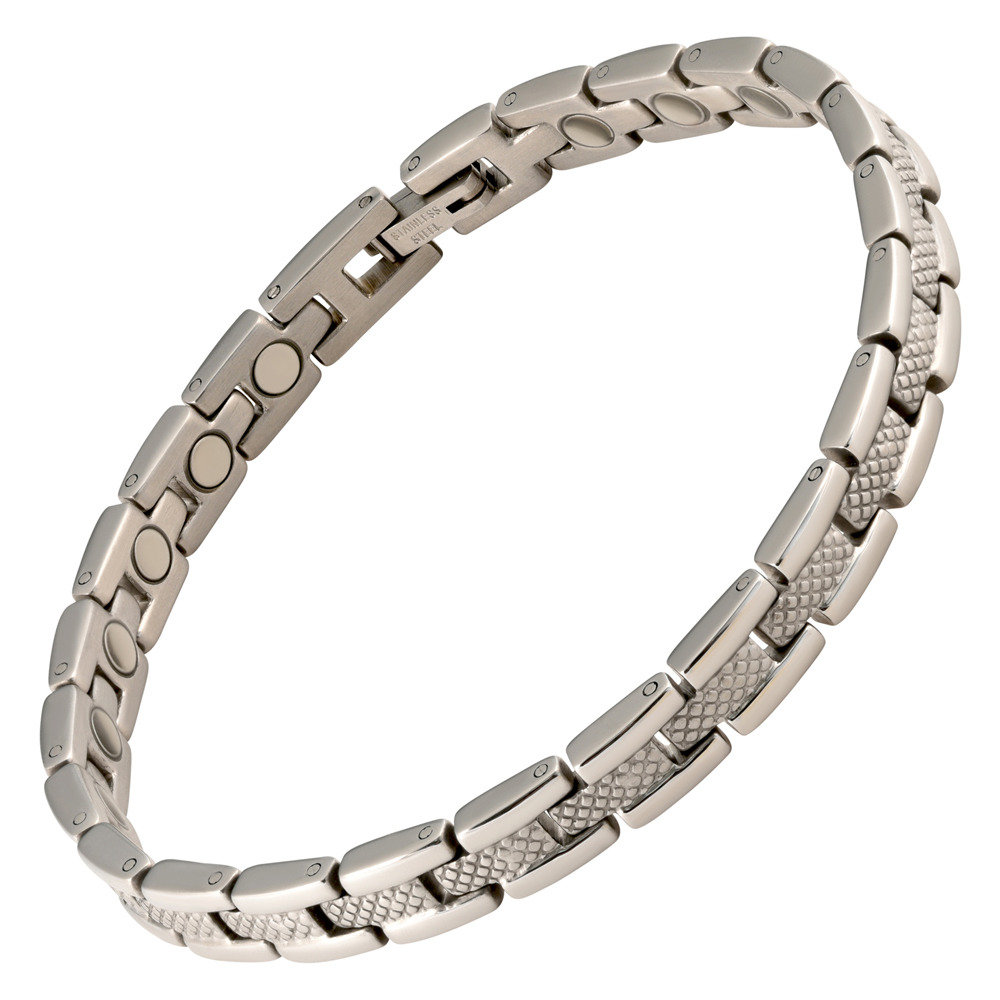 magnetic therapy bracelet stainless steel silver verona. Black Bedroom Furniture Sets. Home Design Ideas