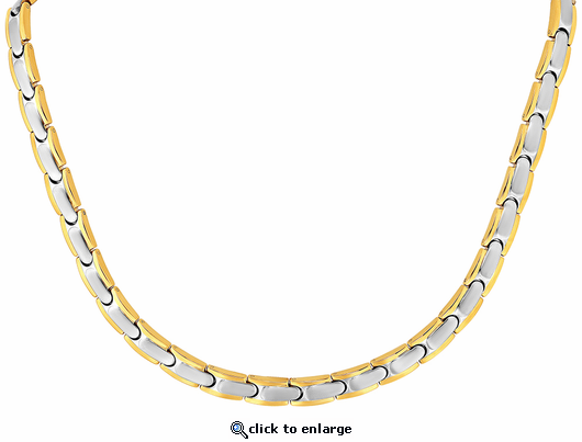 Stainless Steel Magnetic Therapy Necklace 2 Tone Naples