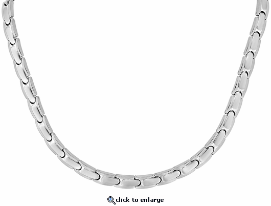 Stainless Steel Magnetic Therapy Necklace Silver Naples
