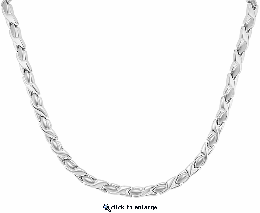 Stainless Steel Magnetic Therapy Necklace Silver XOXO