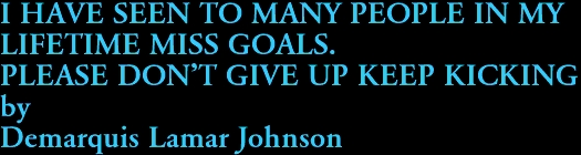 I HAVE SEEN TO MANY PEOPLE IN MY  LIFETIME MISS GOALS.  PLEASE DON'T GIVE UP KEEP KICKING by Demarquis Lamar Johnson