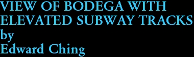 VIEW OF BODEGA WITH  ELEVATED SUBWAY TRACKS by Edward Ching