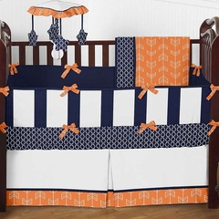Arrow Orange and Navy Crib Bedding - 9 Pc Crib Set