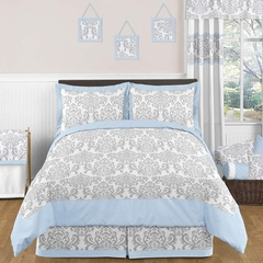 Avery Blue and Gray Damask Bedding 3 Pc Full/Queen Set