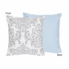 Avery Blue and Gray Damask Decorative Accent Throw Pillow