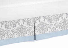 Avery Blue and Gray Damask Queen Bed Skirt
