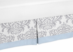 Avery Blue and Gray Damask Toddler Bed Skirt
