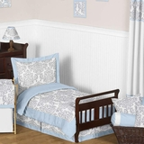 Avery Blue and Gray Damask Toddler Bedding Set