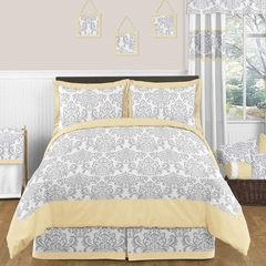 Avery Yellow and Gray Damask Bedding 3 Pc Full/Queen Set