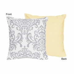 Avery Yellow and Gray Damask Decorative Accent Throw Pillow