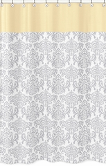 Avery Yellow and Gray Damask Shower Curtain