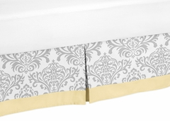 Avery Yellow and Gray Damask Toddler Bed Skirt