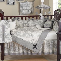 Black French Toile and Gingham Baby Bedding - 9 Piece Crib Set