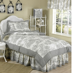 Black French Toile - Kids Bedding 4 Piece Twin Set