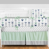 Tribal Arrow Navy and Mint Crib Bedding - 9 Pc Nursery Set