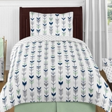 Tribal Arrow Navy and Mint Twin 4 Pc Bedding Set