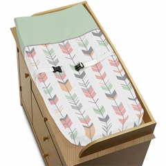 Boho Girls Arrow Coral and Mint Changing Pad Cover