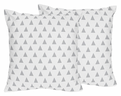 Boho Girls Arrow Coral and Mint Collection Triangle Print Throw Pillows