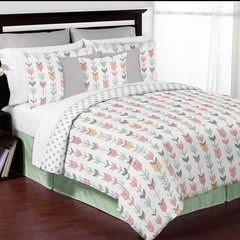 Boho Girls Arrow Coral and Mint Queen 3 Pc Bedding Set