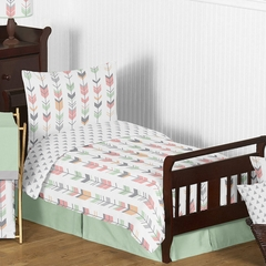 Boho Girls Arrow Coral and Mint Toddler Bedding Set