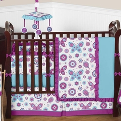 Butterfly Purple and Turquoise Baby Bedding 9 Pc Crib Set