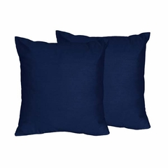 Chevron Collection Solid Navy Accent Throw Pillow Set