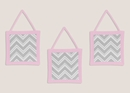 Chevron Girls Pink and Gray 3 Pc Wall Hangings