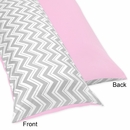 Chevron Girls Pink and Gray Full Length Body Pillow Cover