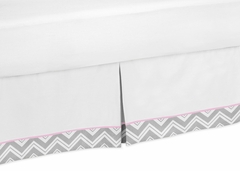Chevron Girls Pink and Gray Toddler Bed Skirt