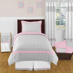 Chevron Girls Pink and Gray Twin Kids Bedding Zig Zag Set