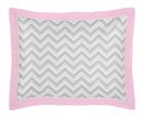 Chevron Girls Pink, White and Gray Collection Pillow Sham