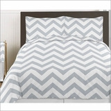Chevron Gay and White 3pc Teen or Kids King Bedding Set