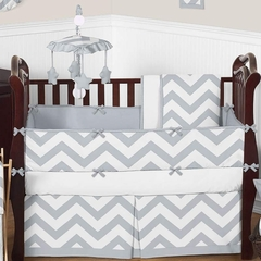 Chevron Gray and White Crib Bedding - 9 Piece Set