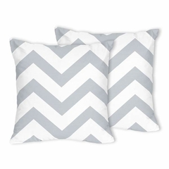 Chevron Gray and White Decorative Accent Throw Pillows