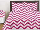 Chevron Hot Pink and White 4pc Teen and Kids Twin Bedding Set
