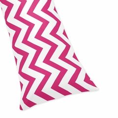 Chevron Hot Pink and White Collection Body Pillow Cover