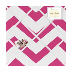 Chevron Hot Pink and White Fabric Memo Board by Sweet Jojo Designs
