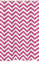 Chevron Hot Pink and White Shower Curtain