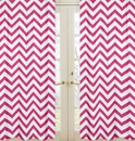 Chevron Hot Pink and White Window Panel Curtains