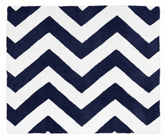 Chevron Navy and White Accent Floor Rug
