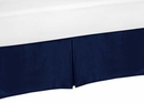 Chevron Navy and White Collection Queen Bed Skirt Solid Navy
