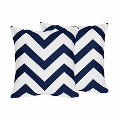 Chevron Navy and White Decorative Accent Throw Pillows