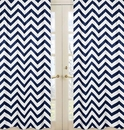 Chevron Navy and White Window Panel Curtains