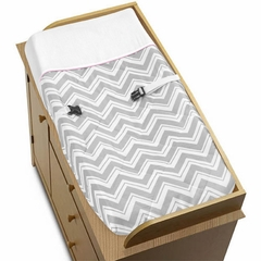 Chevron Pink and Gray Changing Pad Cover Sweet Jojo Designs